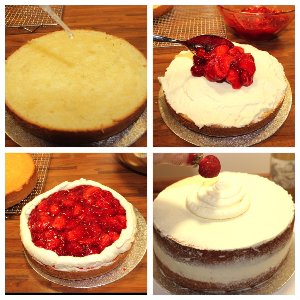 Erdbeer-Holunder Torte Collage