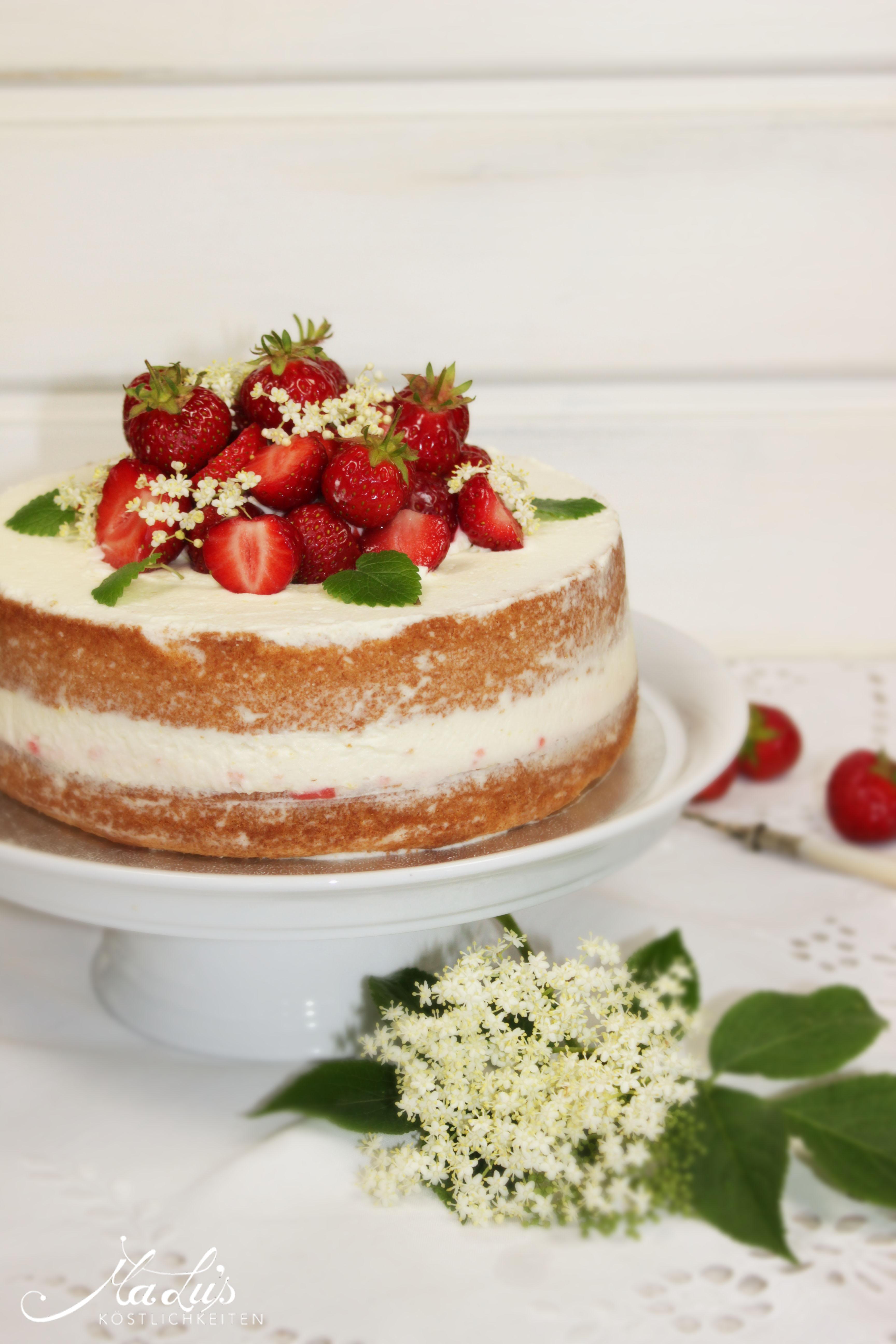 Erdbeer-Holunderblüten Naked cake