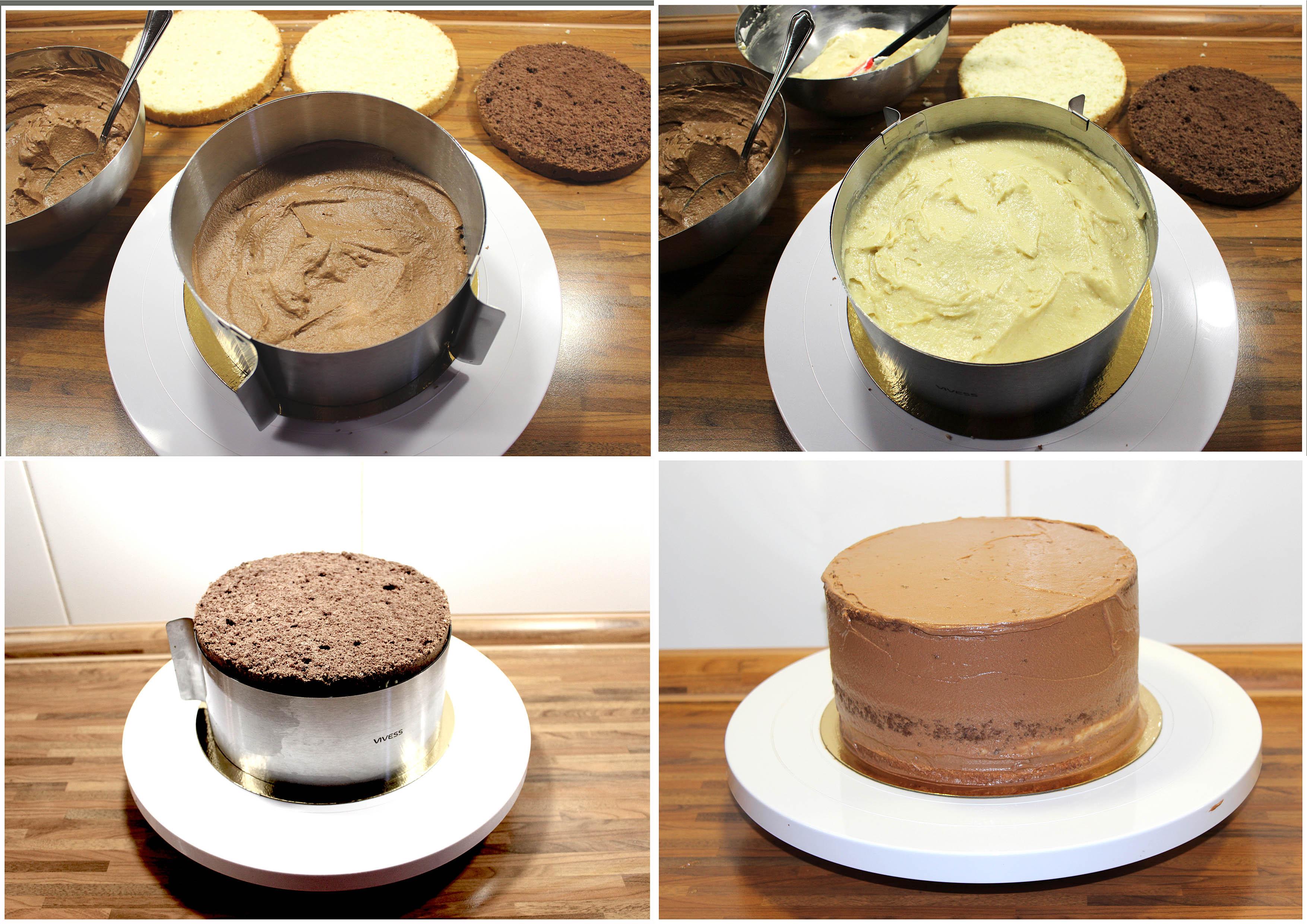 Aufbau Schoko-Marzipan Torte