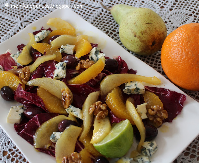 Radicchio Salat mit karamellisierten Birnen - Mein Landgenuss