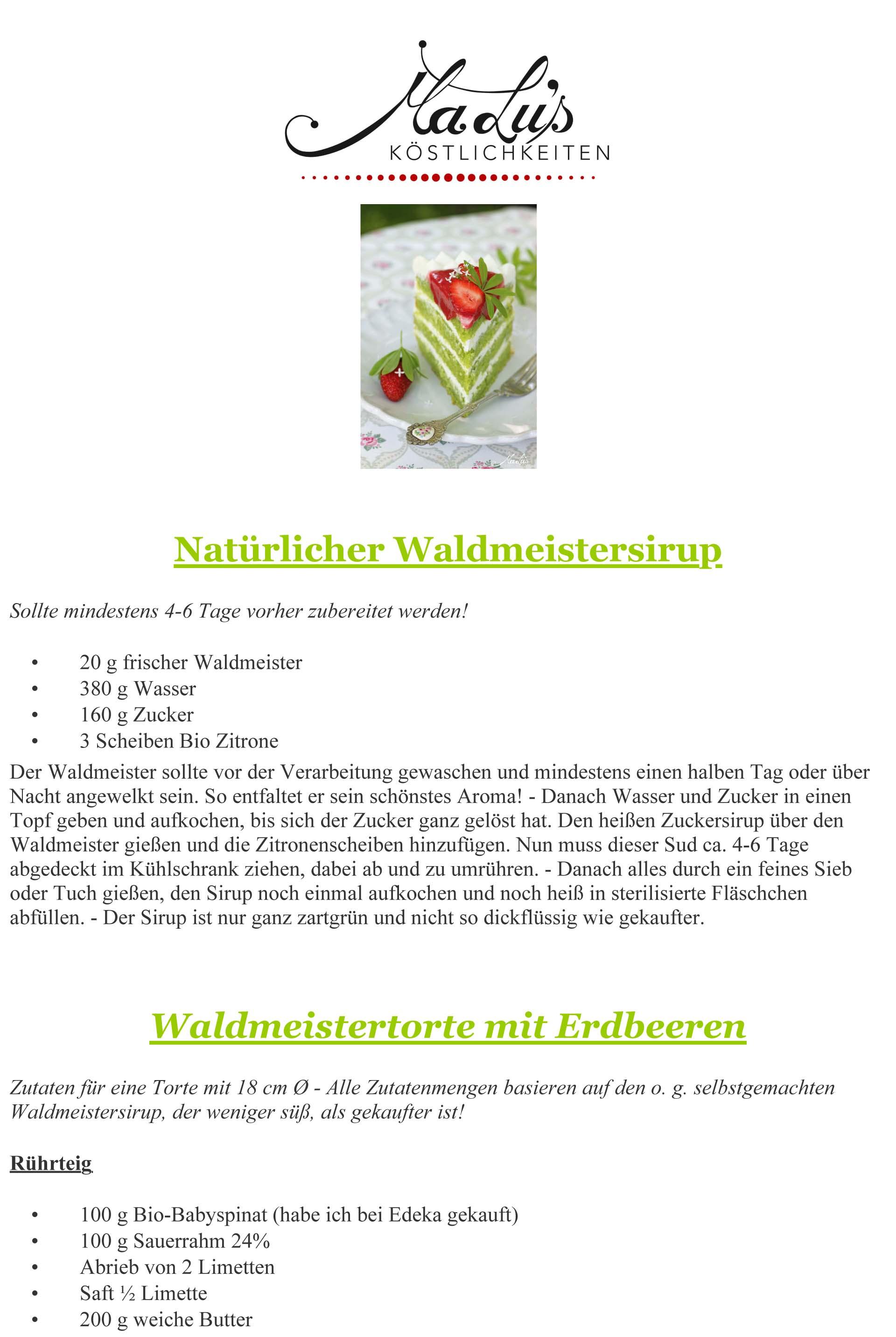 Rezeptdruck Waldmeistertorte