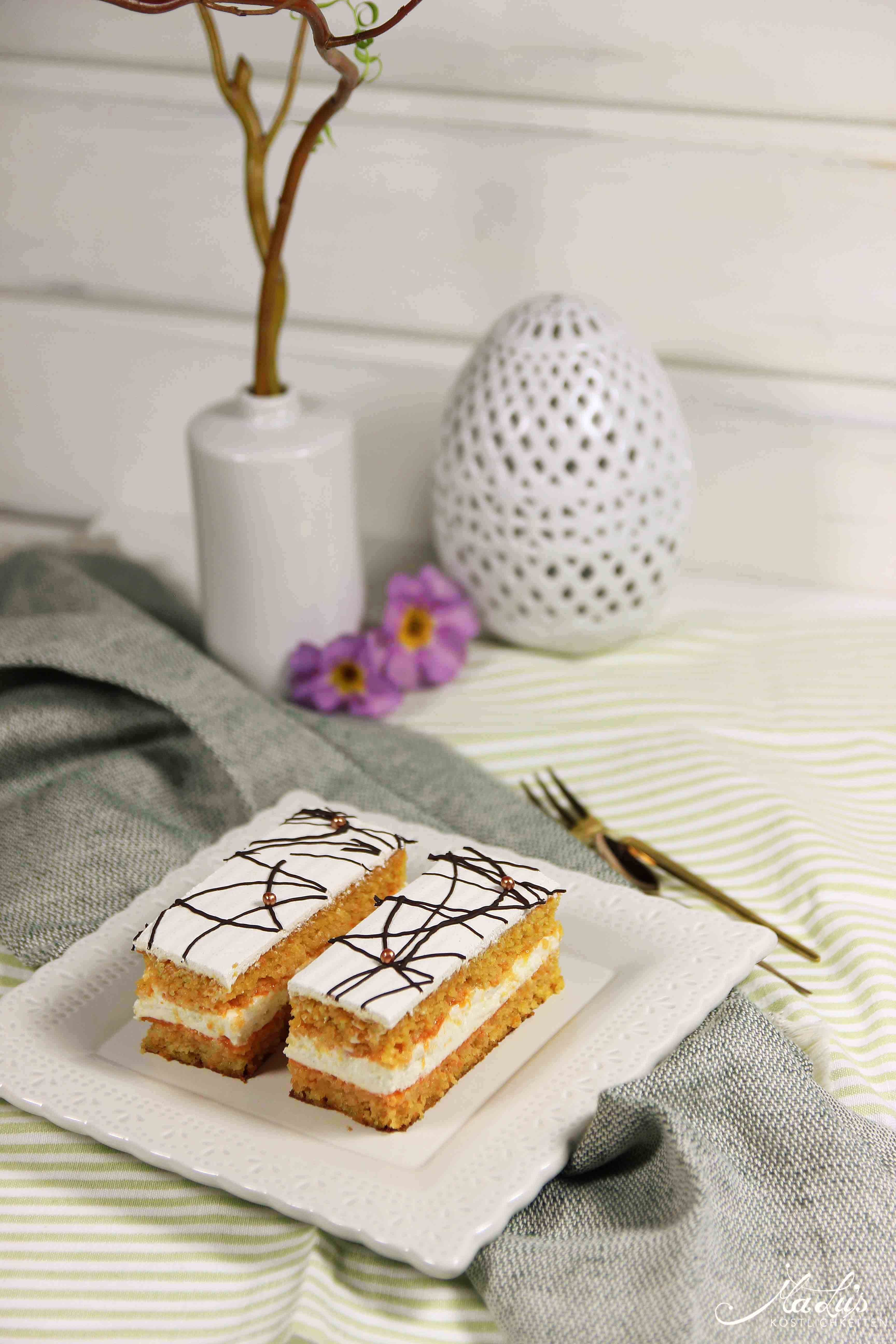Saftiger Möhrenkuchen mit Quarkfüllung | Maren Lubbe