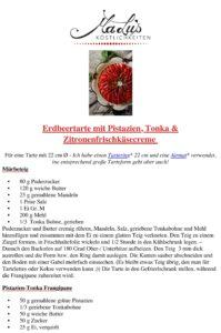 Rezeptdruck Erdbeertarte