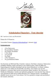 Schaokoladen Financiers - Tout chocolat Rezeptdruck